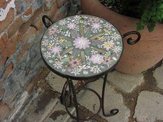 Handmade mosaic tile table by @Sondra Santangelo Theresa Tile Works