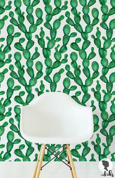 Self Adhesive Removable Wallpaper Cactus Wallpaper L056, $14.41 AUD