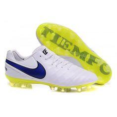 Nuovo Scarpe da calcio Nike Tiempo Legend VI FG Uomo Bianco Blu Giallo