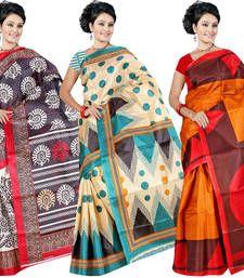 Buy Multicolor printed silk saree with blouse sarees-combo-sari online