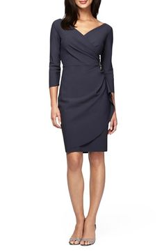 Free shipping and returns on Alex Evenings Embellished Stretch Faux Wrap Dress at Nordstrom.com. Soft-yet-structured fabric makes the most of the flattering, dimension-rich gathering shaping the faux-wrap silhouette of this brooch-accented sheath.