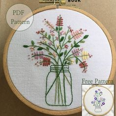 NEW Guide -NEW Bonus Free Pattern_Bouquet In The Bottle_perfect for gift_PDF files_instant down load files_Hand Embroidery Pattern Bordado Vintage – Basic Hand Embroidery Stitches, Embroidery Sampler, Simple Embroidery, Embroidery Transfers, Japanese Embroidery, Machine Embroidery Patterns, Modern Embroidery, Hand Embroidery Designs, Vintage Embroidery