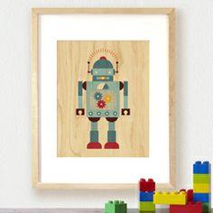 Blue Robot Print on Wood PC30955766898 (Layla Grace)
