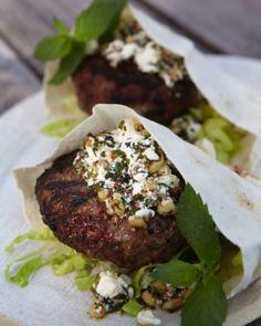 Lamb Burger with Feta Pesto.