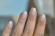 Nude wedding nails with white lace tutorial
