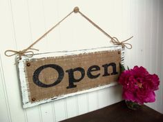 Cute for porch or patio or just do one letter of a name. Luv the burlap and upholstery tacks. Open Signs, Closed Signs, Burlap Signs, Shop Window Displays, Market Displays, Retail Displays, Store Displays, Shop House Plans, Business Signs