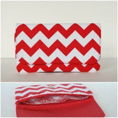 $22 red and white chevron date night clutch with polka dot and floral interior {www.facebook.com/babymamasewshop}
