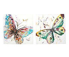Set de 2 cuadros con lienzo enmarcado en madera Mariposas