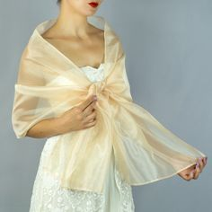 c38ddea5e790 Luxury Organza wrap shawl bolero Winter wedding 200 cm Champagner Beige  light gold coffee