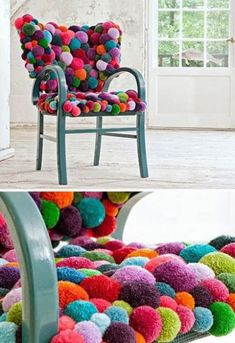 pompom covered chair!