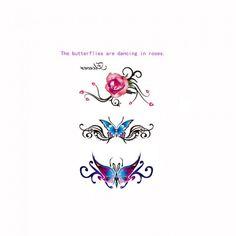 Tattoo Sticker Rose Butterfly Pattern Waterproof Temporary Tattooing Paper Body Art