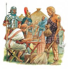 A British chieftain pays taxes to the Romans. One of the main factors in the fall of the Western Roman Empire was the willingness of the later empire to cede territory to non tax paying barbarian allies, who contributed soldiers, but no revenue to the Roman state - in fact barbarian Kings took on tax raising powers of their own from Roman provincials.