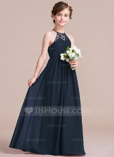 e7e2c0565 A-Line/Princess Scoop Neck Floor-Length Chiffon Junior Bridesmaid Dress  (009097063)