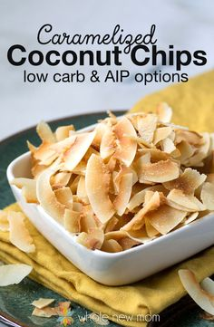 This Homemade Caramelized & Toasted Coconut Chips Recipe is one of the most helpful snack recipes I have ever come up with. Why? These little morsels of crunchiness and sweetness are just perfect – and they're a frugal version of the store bought ones. They're also special diet friendly – low carb, paleo, autoimmune protocol/AIP, GAPS and more!