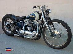 Harley Davidson old school bobber Motos Harley Davidson, Harley Davidson Custom Bike, Classic Harley Davidson, Harley Bobber, Bobber Motorcycle, Bobber Chopper, Bobber Bikes, Dirt Bikes, Ironhead Sportster