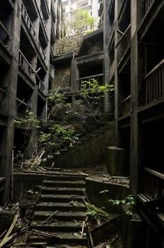 The ghost island of Hashima, Nagasaki Prefecture, Japan - abandoned after the closure of its coal mines as Japan largely converted to petroleum in the Abandoned Buildings, Abandoned Mansions, Old Buildings, Abandoned Places, Abandoned Castles, Abandoned Cars, Abandoned Ohio, Hashima Island, Chernobyl
