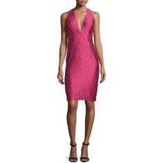 Milly Sleeveless Jacquard Cocktail Dress found on Polyvore featuring polyvore, women's fashion, clothing, dresses, rose, women's apparel dresses, sleeveless sheath dress, sheath cocktail dress, rose dress and v neck sheath dress