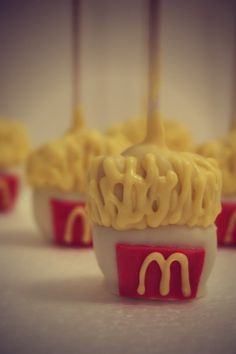 small fry cake pop by evieandmallow Unique Cakes, Creative Cakes, Creative Food, Sweet Cakes, Cute Cakes, Yummy Cakes, Mcdonalds Birthday Party, Cupcake Wars, Candy Apples
