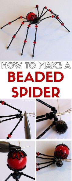 Learn how to make a beaded spider. Add to a scary Halloween scene or hang your Christmas spider on the tree! A simple DIY craft tutorial idea.