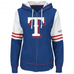 Majestic Texas Rangers Women Big Time Attitude Full Zip Hoodie (Royal) New  York Rangers 448f0e230