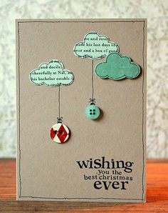selber basteln wolken ideen Weihnachtskarten