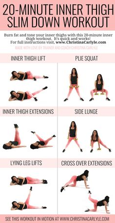 20 Minute Inner Thigh Slim Down Workout, 20 Minute Non. Thigh Slim Down Workout Non. Thigh Workout Non. Fitness Workouts, Fitness Motivation, Weight Workouts, Fitness Quotes, Free Weight Arm Workout, Body Weight Exercises, Beginner Leg Workout, Arm Workout For Beginners, Step Workout