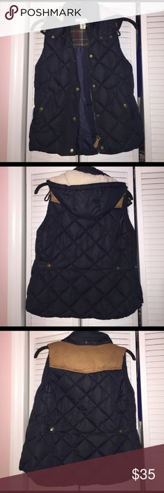 Navy Blue Vest Navy blue vest with suede detailing. The hood is detachable. Only worn once so it is in like new condition. It is a size 8, but I typically range from a small to a medium since I am tall. Price is negotiable as always! H&M Jackets & Coats Vests