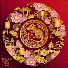 Happy chinese new year 2020 year of the rat ,paper cut rat character,flower and asian elements with craft style on background. (Chinese translation : Happy chinese new year year of rat) Stock Photo , Chinese New Year Wallpaper, Chinese New Year Images, Chinese New Year Design, Chinese New Year 2020, Happy Chinese New Year, Happy New Year Design, Chinese Drawings, Chinese Art, Chinese Food