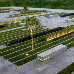 Stripes of paving, plants and lighting form the entrance toBen- Gurion University campus in Be'er Sheba, Israel, designed by Israeli firm Chyutin Architects. The landscaped garden sits in a sunken plaza with a long lawn area on one side. Rectangular concrete plinths coming up from the ground serve as benches. The square serves an an …