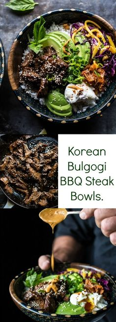 Korean Bulgogi BBQ Steak Bowls - List of the best food recipes Asian Recipes, Beef Recipes, Cooking Recipes, Healthy Recipes, Ethnic Recipes, Korean Bulgogi, Korean Bbq Beef, Bbq Steak, Half Baked Harvest