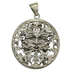 Green Man Pendant, Filigree in Sterling Silver