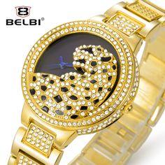 18.04$  Buy here - http://aliqlu.shopchina.info/go.php?t=32423200201 - Belbi Women Watch Ladies Fashion Steel Quartz Watches Dress Quartz-Watch Rhinestone Leopard Dial Gold Luxury Wristwatch Relojes  #buyonline
