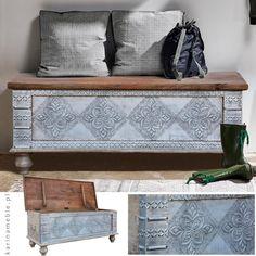 """Orientalna, indyjska skrzynia """"Silver"""" to piękny i wyjątkowy mebel. Zrobiony z litego drewna i ozdobiony srebrną blachą.Pięknie zaprezentuje się we wnętrzach w stylu boho, nowoczesnych a nawet loftowych i industrialnych. Skrzynia jest ręcznie robiona i prowadzone z Indii."""