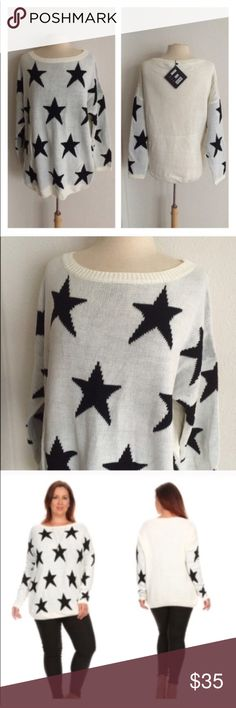 """(Plus) White star sweater Star sweater. 75% acrylic/ 25% nylon. Extremely soft and warm! These are not lightweight sweaters. Very TTS! I am a 2x and the 2x of this fits perfectly with a slightly oversized look.  1x: L 29"""" • B 50"""" 2x: L 29"""" • B 52"""" 3x: L 30"""" • B 54"""" ⭐️This item is brand new with manufacturers tags or in original packaging. 🚫NO TRADES 💲Price is firm unless bundled 💰Ask about bundle discounts Availability: 1x•2x•3x • 2•4•1 Sweaters Crew & Scoop Necks"""