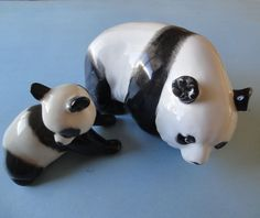 Polar Bears, Two Beautiful Porcelain Polar Bear Figurines Mother & Baby