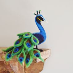 Needle Felted Peacock. Bird Animal Soft Sculture by The Felted Fawn. (95.00 CAD) by TheFeltedFawn