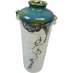 Japanese Vintage  織部焼 Oribe-yaki or Oribe Ware Kabin/ Flower Vase  ***CHeck out all the new prices on our 100+ Vases!****