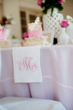 Pink monogrammed linen with a B for Burkey and in the same pink or black
