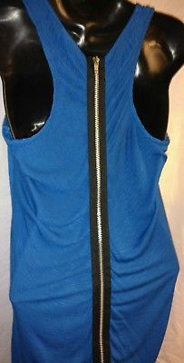 Blu Chic Active Junior's SZ M Medium Blue high low tank top sexy zip back shirt