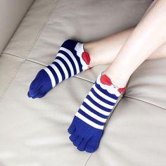 Cute Five Finger Toe Socks Colorful Striped Socks Cotton Breath Women Men Socks