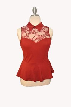 The Perfect Peplum Top: the collar, the lace inset, the color. Just....❤️
