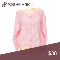 *1 HOUR SALE* Vintage Light Pink Cardigan 50% Mohair. 50% Acrylic. Has big buttons for a unique look. Comfy and cute. Vintage Sweaters Cardigans