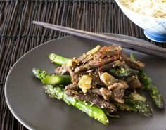 Springtime Beef Stir fry...I used steamed veggies (carrots and broccoli) instead of the assperrigus.  It was perfect!