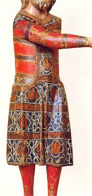 Saya decorada con rayas horizontales bajo pellote. H. 1300. José de Arimatea, anónimo, Fundación Francisco Godia, Barcelona