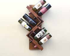 Rustic Wine Rack Wall Mounted Wine Rack Wood von AdliteCreations