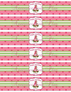 Strawberry Shortcake Print Your Own Water Bottle Labels By AnnouncementsPlus 600