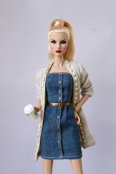 Silver.NEW Curvy Silkstone or regular size Barbie dolls tube DRESS Integrity