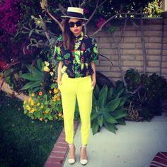 Goorin Bros Campaign Hat, Shake Junt 40oz Button Up, Forever 21 Trousers, Zoo Shoo White Heels