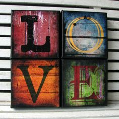 Love Distessed Wood Look Canvas Blocks -