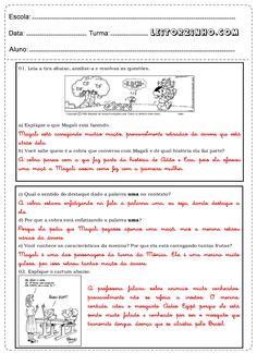 Leia a tira, analise-a e resolva as questões Professor, Sheet Music, Atvs, Lp, Interactive Activities, Writing Activities, Tall Tales Activities, Tags, Atv
